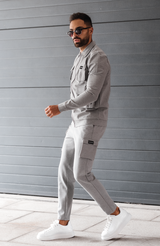 MAUVAIS Grey Cargo Pants with Detachable Chain