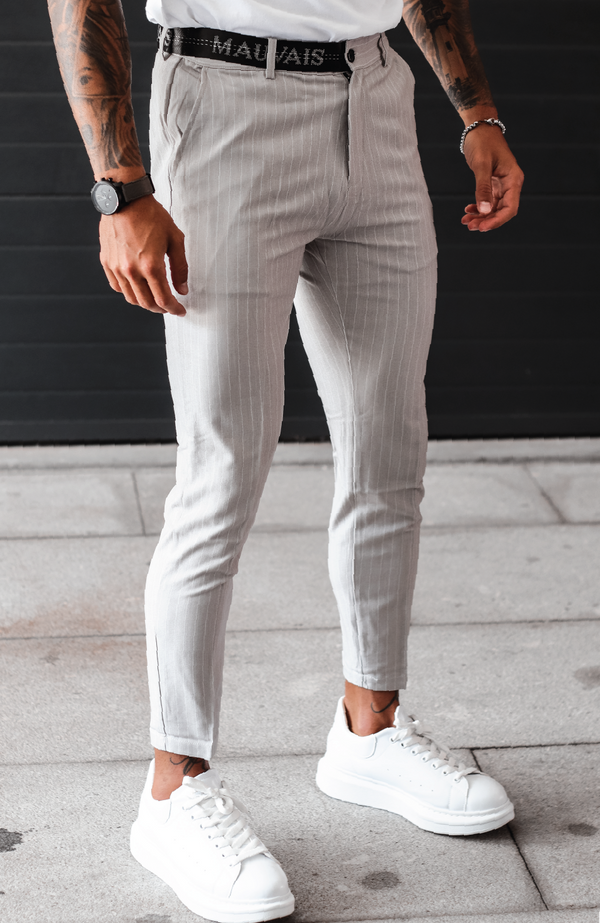 MAUVAIS Grey Pinstripe Trousers with Half Belt