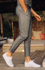MAUVAIS Grey Pinstripe Cropped Chino Trousers