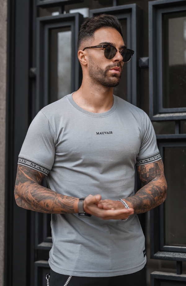 MAUVAIS Grey Taped Tee