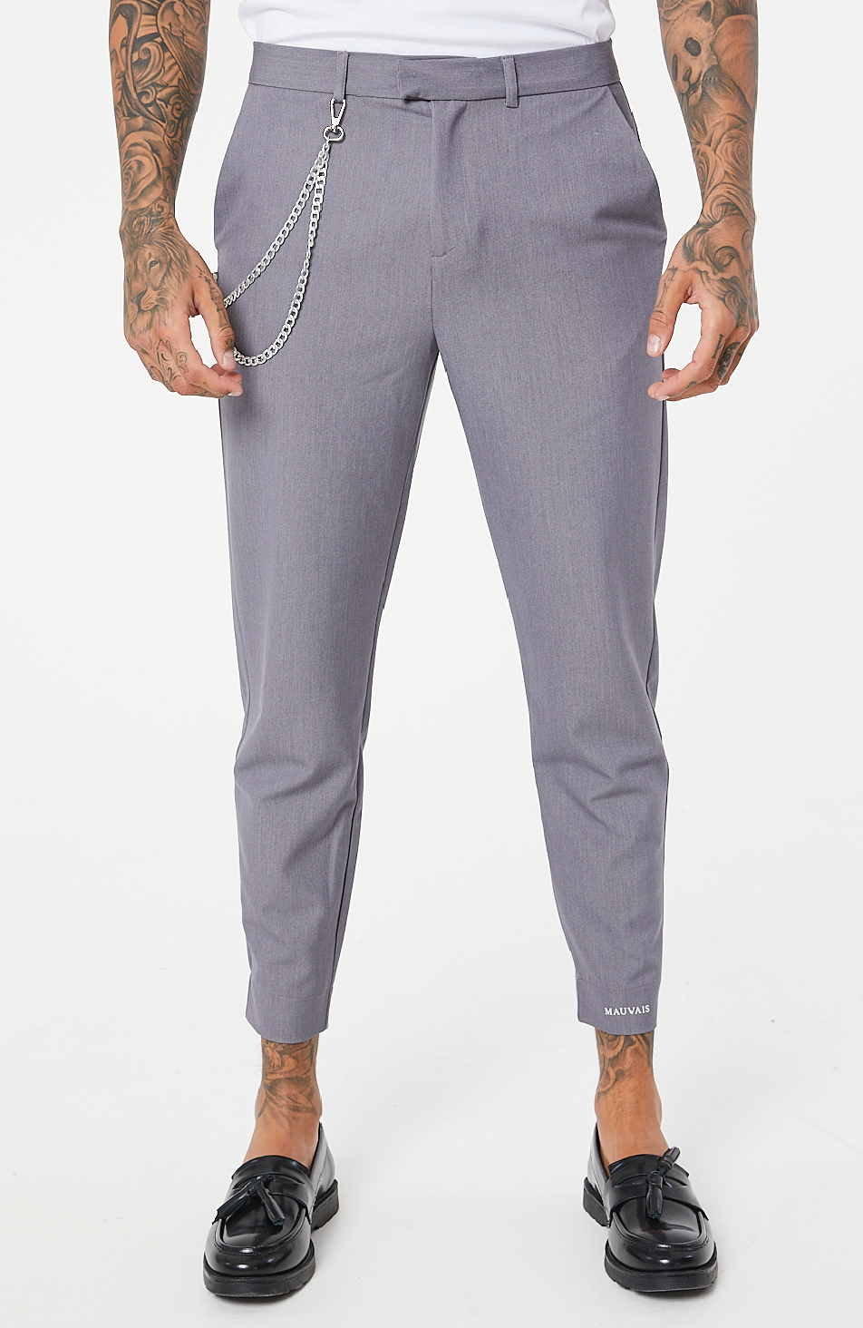 MAUVAIS Grey Cropped Trousers with Detachable Silver Chain