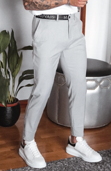 MAUVAIS Grey Slim Trousers with Half Belt