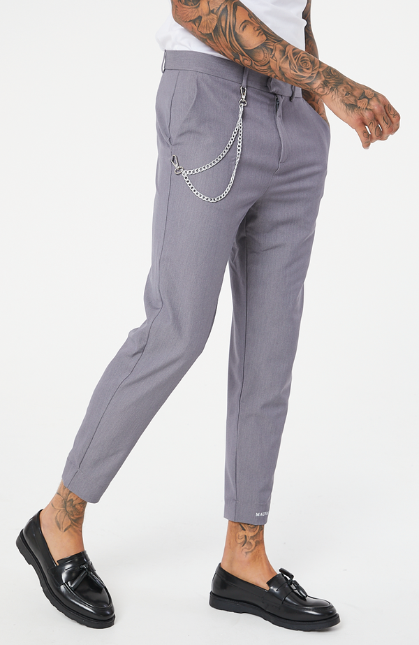 MAUVAIS Grey Slim Cropped Trousers with Detachable Silver Chain