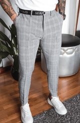 MAUVAIS Grey Slim Check Trousers with Half Belt