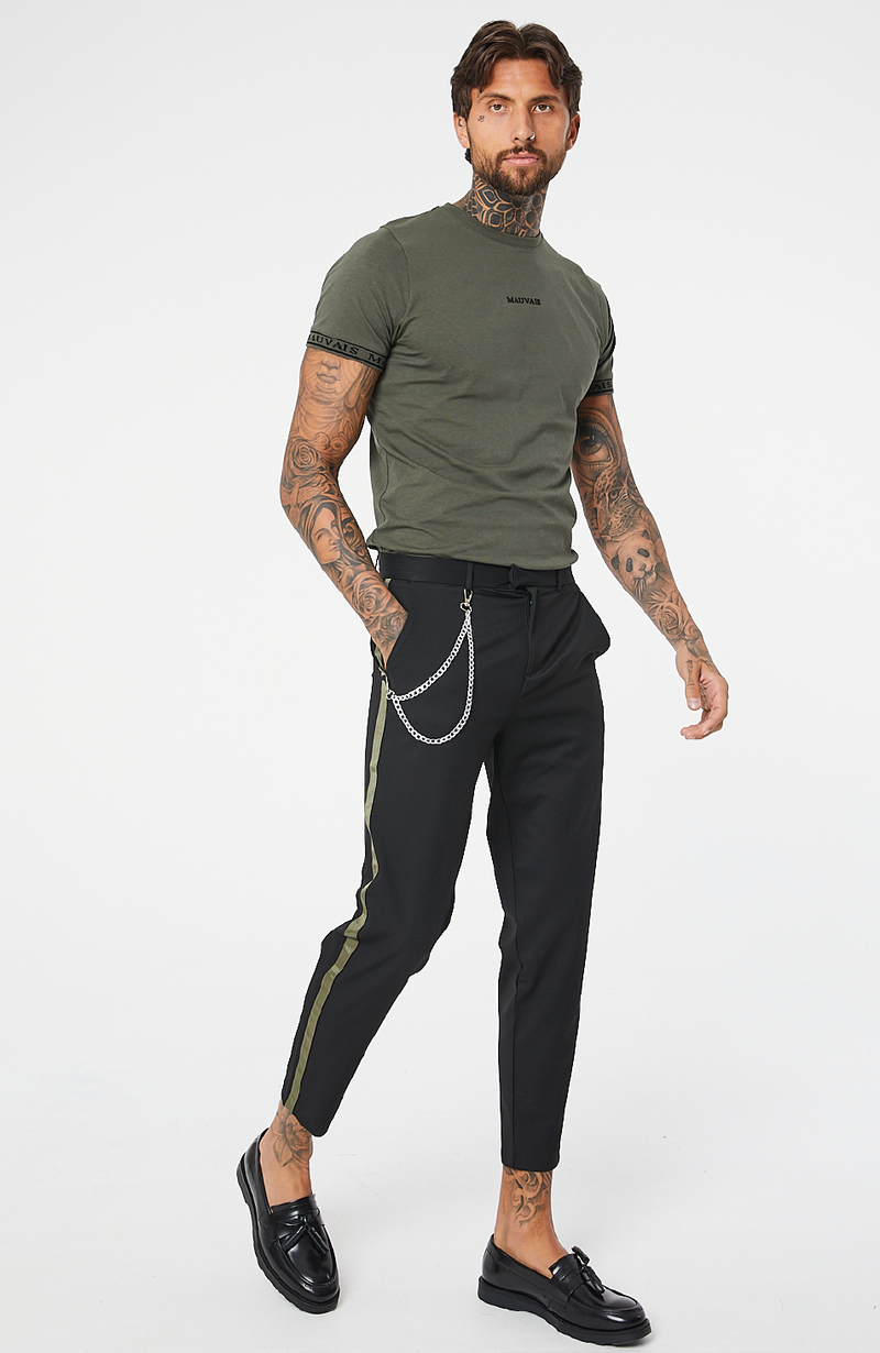 MAUVAIS Black Cropped Trousers with Khaki Stripe and Detachable Chain
