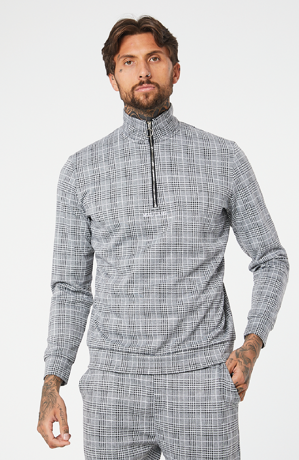 MAUVAIS Light Grey Check 1/4 Zip Sweatshirt