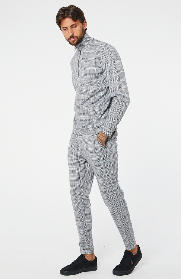 MAUVAIS Grey Check Joggers