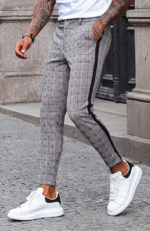 MAUVAIS Grey Smart Check Cropped Trousers