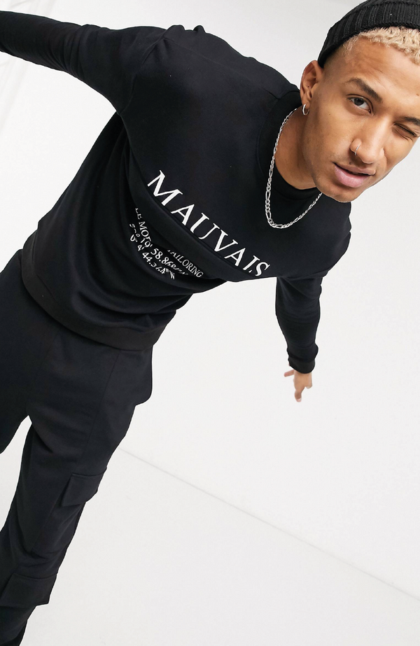 MAUVAIS Black Pocket Sweatshirt