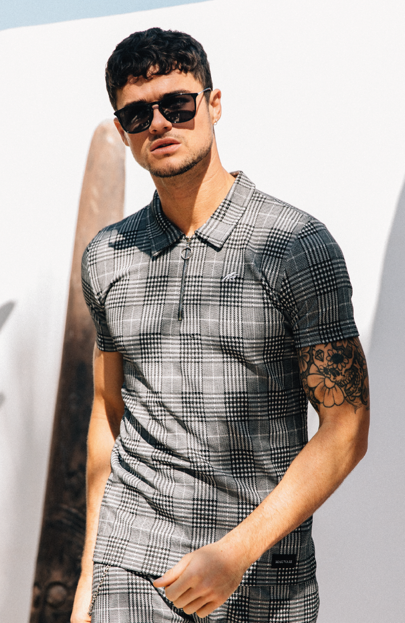 MAUVAIS Grey Check Zip Polo