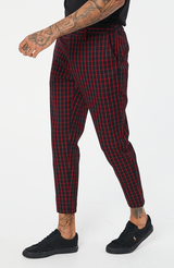 MAUVAIS Black/Red Check Cropped Trousers