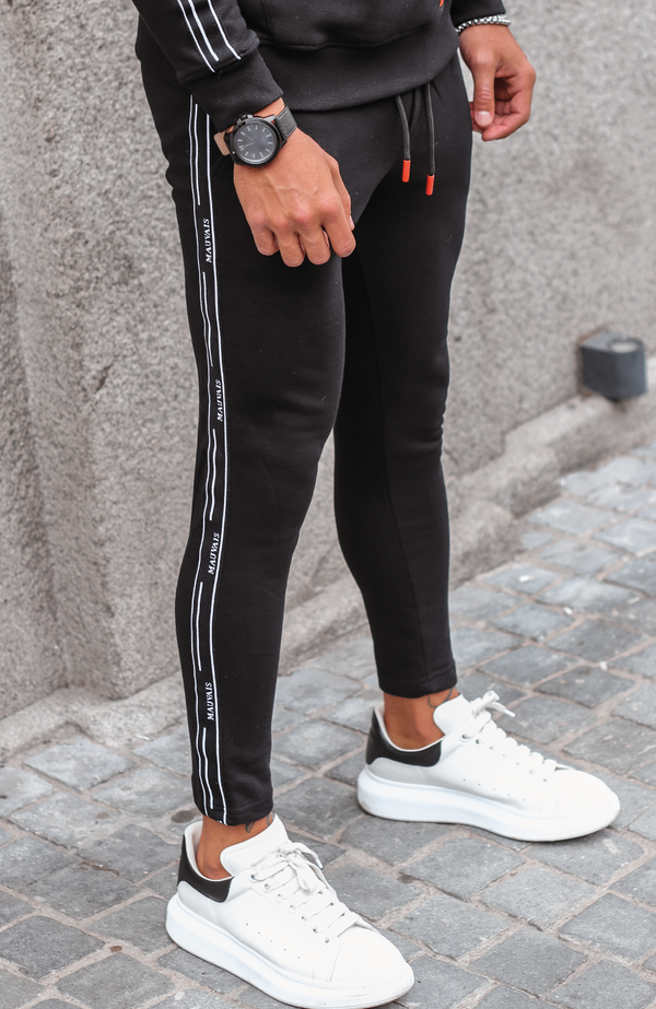 MAUVAIS Black Taped Joggers