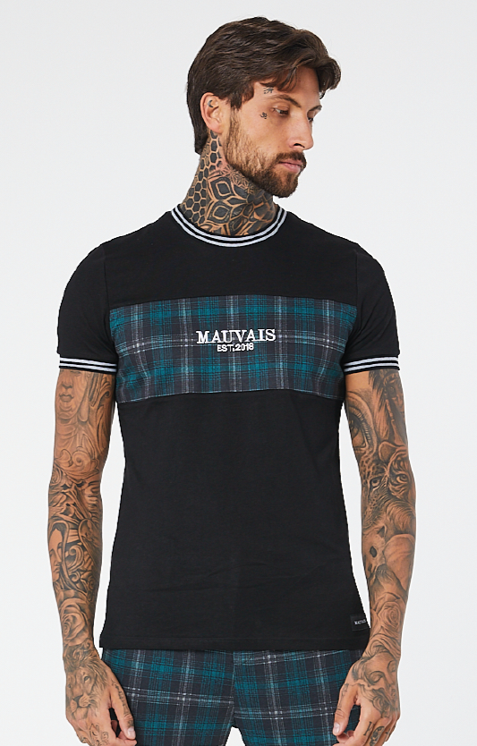 MAUVAIS Teal Check Panel Tee