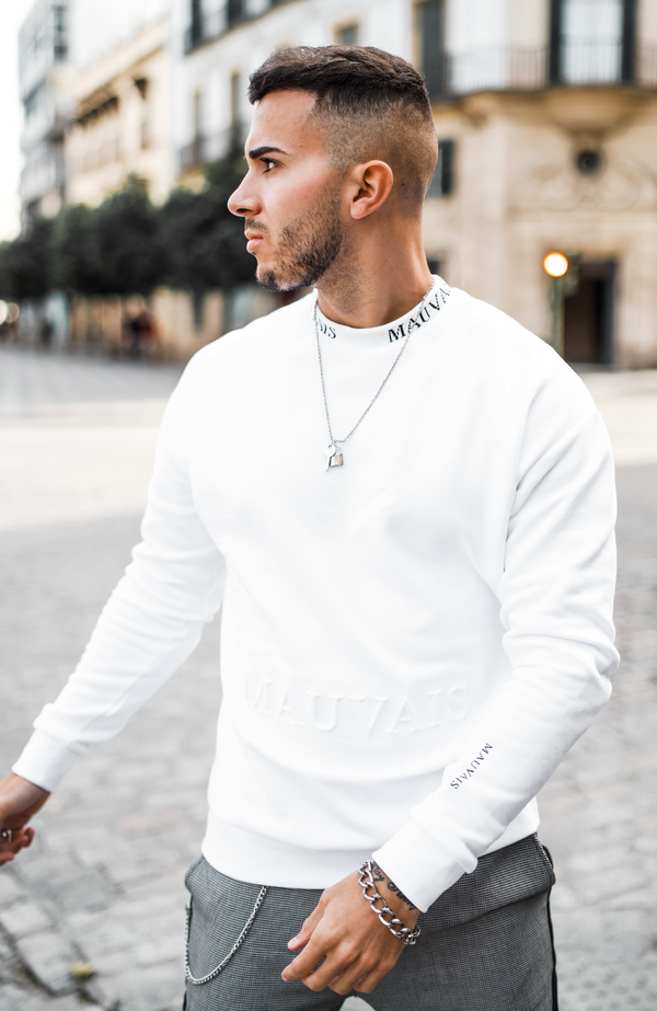 MAUVAIS White Embossed Sweatshirt