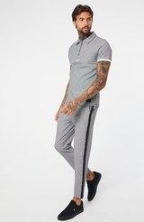 MAUVAIS Slim Check Cropped Trousers with Black Tape and Detachable Chain