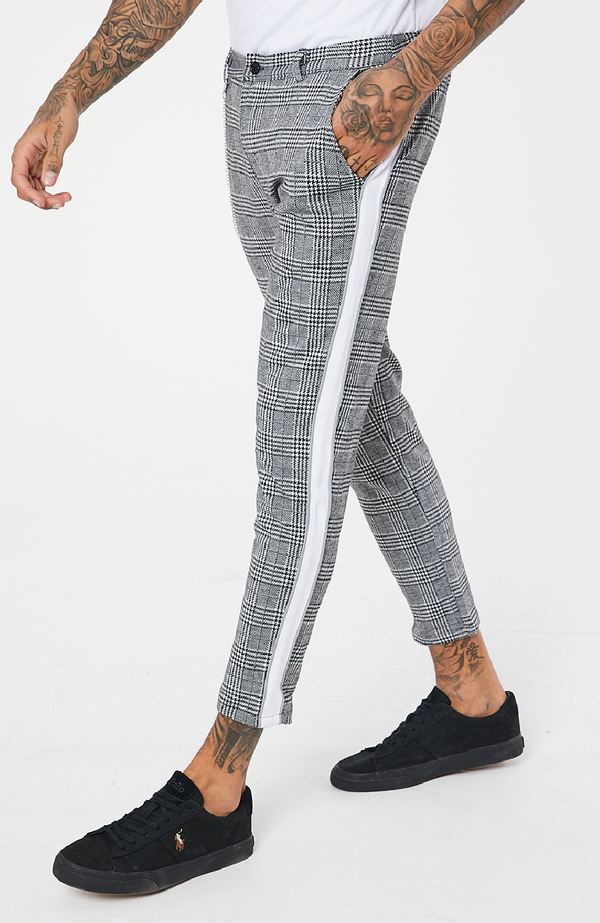 MAUVAIS Grey Check Cropped Chino Trousers with White Stripe and Detachable Chain