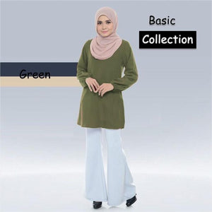 Fabia Basic Blouse - Green - Size 4XL