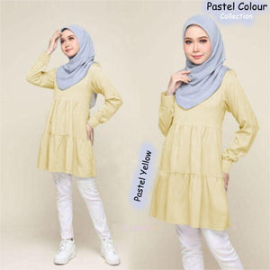 Nora Pastel Color Blouse - Pastel Yellow  - L