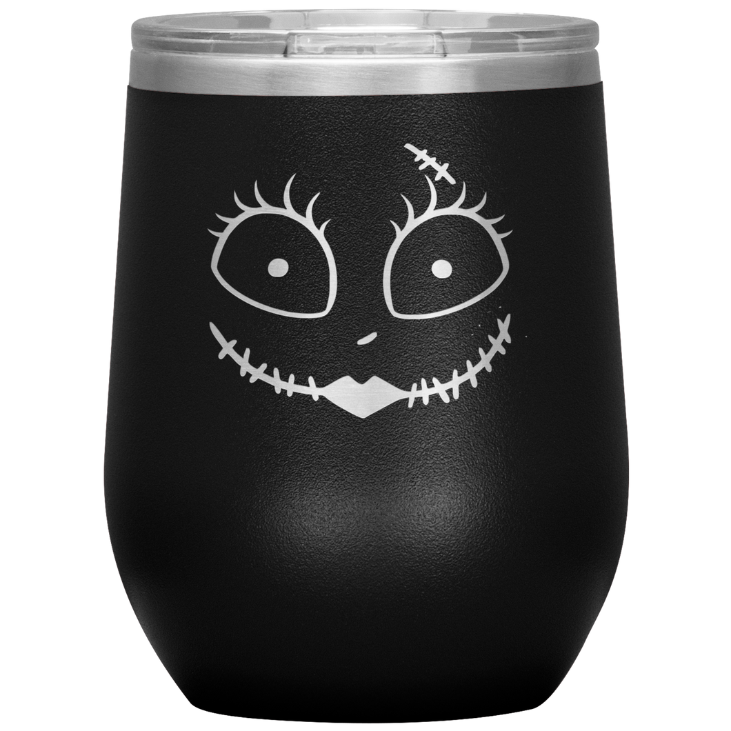 Sally Zombie Face Wine Tumbler with Lid [Puts The Spirit In Your Pumpkin!]