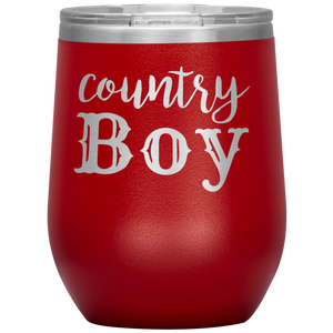 Country Boy Wine Tumbler with Lid [Must Have For Your Cottagecore Kitchen!]
