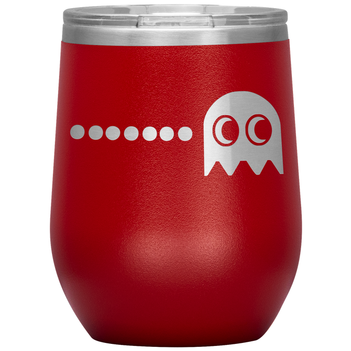 Gamer PacMan Ghost Wine Tumbler with Lid [It's Game ON With These!]