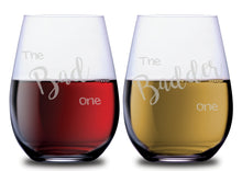 The Bad One & The BADDER One Funny Stemless Couples WineGlass Set of 2 [It feels so good to be BAD!]