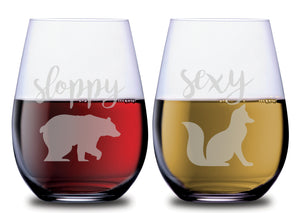 Sloppy Bear & Sexy Fox Funny Animals Stemless Couples WineGlass Set of 2 [Hilariously Wild!]