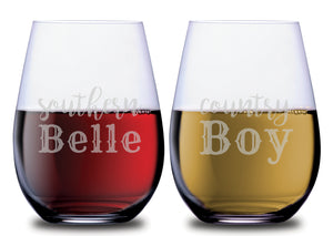 Southern Belle & Country Boy Stemless Couples WineGlass Set of 2 [Must Have For Your Cottagecore Kitchen!]