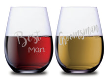 The Best Man & The Groomsman Elegant Stemless Couples WineGlass Set of 2 [To celebrate the wedding in style!]
