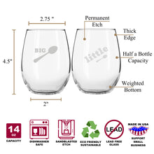 Big Spoon & Little Spoon Funny Stemless Couples WineGlass Set of 2 [Choose UR Fav Cuddle postion, No Judgements]