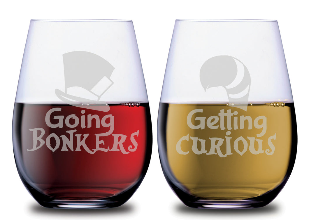 Going Bonkers and Getting Curiouse SMOOCHIES wine glasses filled with red and white wine | SMOOCHIES