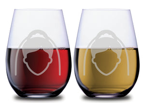 The Bride Silhouette & The Bride Silhouette Elegant Stemless Couples WineGlass Set of 2 [For celebrating love in style!]