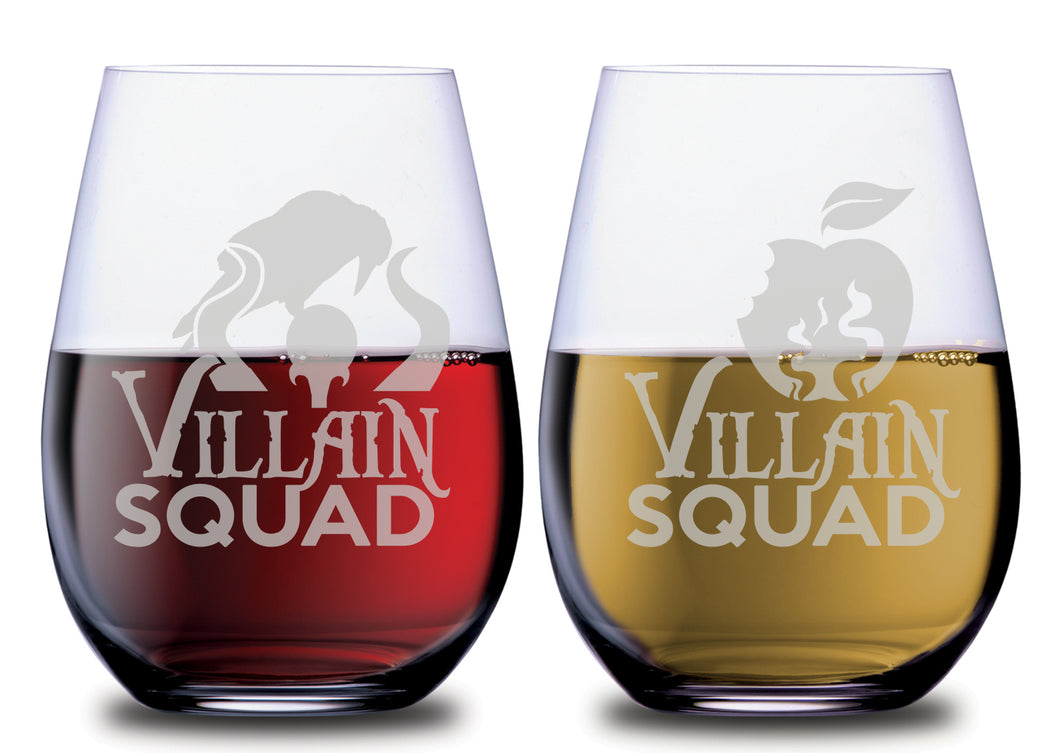 Villain Squad Evil Queen & Maleficent Stemless Couples WineGlass Set of 2