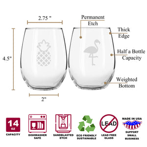 Flamingo & Pineapple Funny Graphic Stemless Couples WineGlass Set of 2 [For Hula Fans and Beach Lovers Everywhere...]