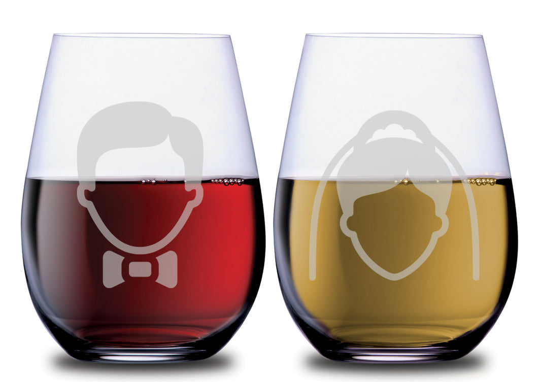 The Bride Silhouette & The Groom Silhouette Elegant Stemless Couples WineGlass Set of 2 [For celebrating love in style!]