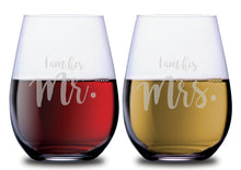 Her Mr. & His Mrs. Elegant Stemless Couples WineGlass Set of 2 [Because love has never been so perfect!]