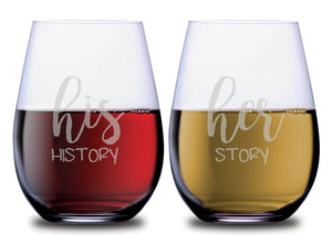 Her Story & His History Stemless Couples WineGlass Set of 2 [Makes The Perfect Match!]
