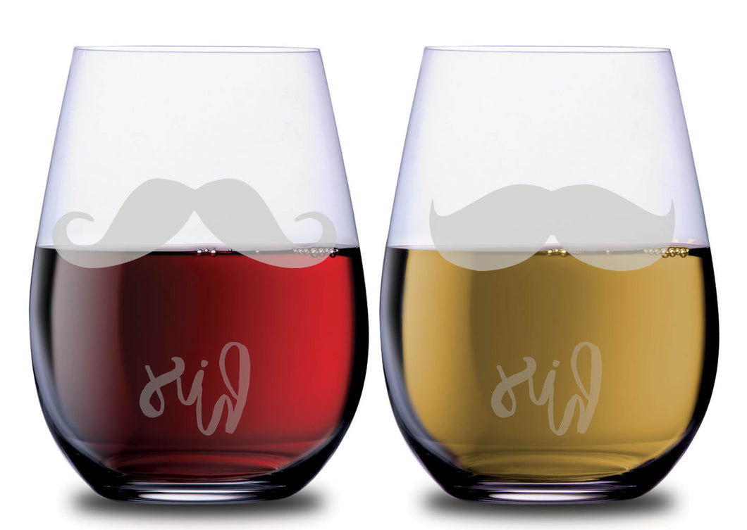 His and his double mustache SMOOCHIES stemless wine glass set filled with red and white wine mustache facing front | SMOOCHIES