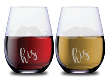 His and his double mustache SMOOCHIES stemless wine glass set filled with red and white wine text facing front | SMOOCHIES