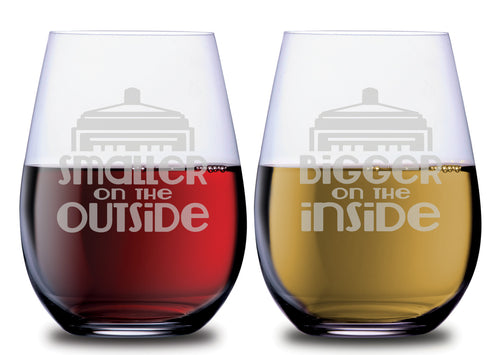 Smaller Outside & Bigger Inside Stemless Couples WineGlass Set of 2 [The Doctor Will See You Now!]