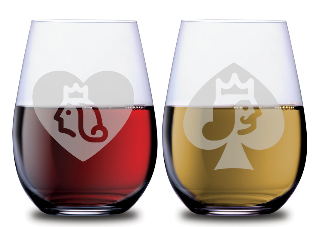 Queen of Hearts & King of Spades Graphic Funny Stemless Couples WineGlass Set of 2 [Truly fit for ROYALTY!]