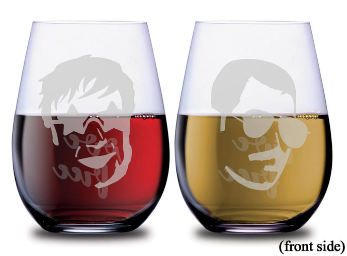 Elton John and Freddie Mercury Live Free and Love Free Face and quote stemless SMOOCHIES wine glasses with red and white wine filled half way facing the front | SMOOCHIES