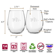 Mr & Mr Elegant Stemless Couples WineGlass Set of 2 [The perfect match for a perfect couple!]