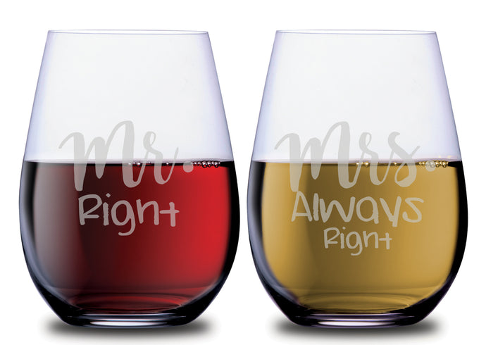 Mrs Always Right & Mr Right Funny Stemless Couples WineGlass Set of 2 [Who's right?? Who cares, these are hilarious!]
