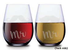 Mr and Mr text with two mustache designs on SMOOCHIES stemless couples wine glasses with text facing front | SMOOCHIES