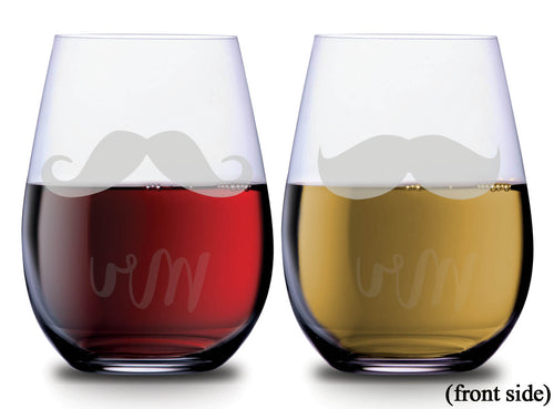 Mr and Mr text with two mustache designs on SMOOCHIES stemless couples wine glasses with mustaches facing front | SMOOCHIES