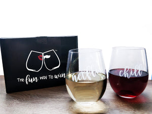Netflix and Chill Funny stemless wine glasses with red wine and white wine with SMOOCHIES box on wood table top