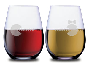 Pacman & Mrs Pacman Funny Stemless Couples WineGlass Set of 2 [Because every gaming hero needs a partner]