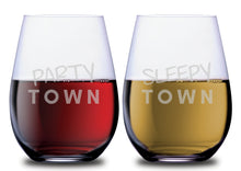 Party Town & Sleepy Town Funny Stemless Couples WineGlass Set of 2 [These two are a hilariously balanced duo!]