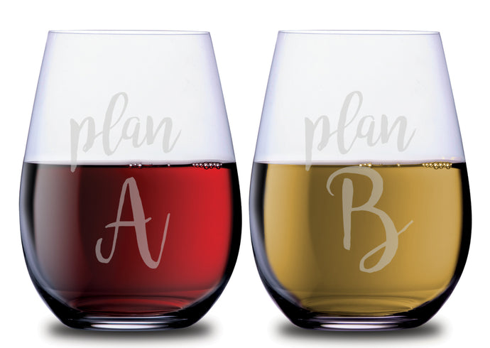 Plan A & Plan B Hilarious Stemless Couples WineGlass Set of 2 [Cuz Backup Plans Are The Best Plans!]